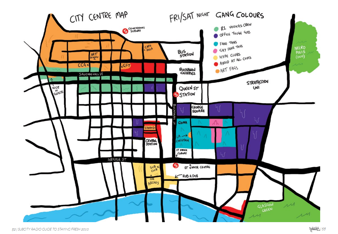 Subcity map of Glasgow City Centre, Clubs, Bars & Districts by Joe Crogan